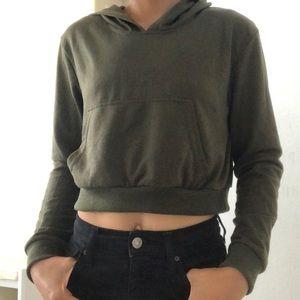 Olive green cropped hoodie